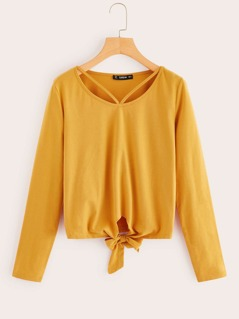 Knot Front Cutout Solid Tee