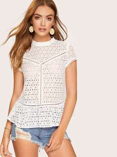 Mock Neck Lace Insert Eyelet Embroidered Top