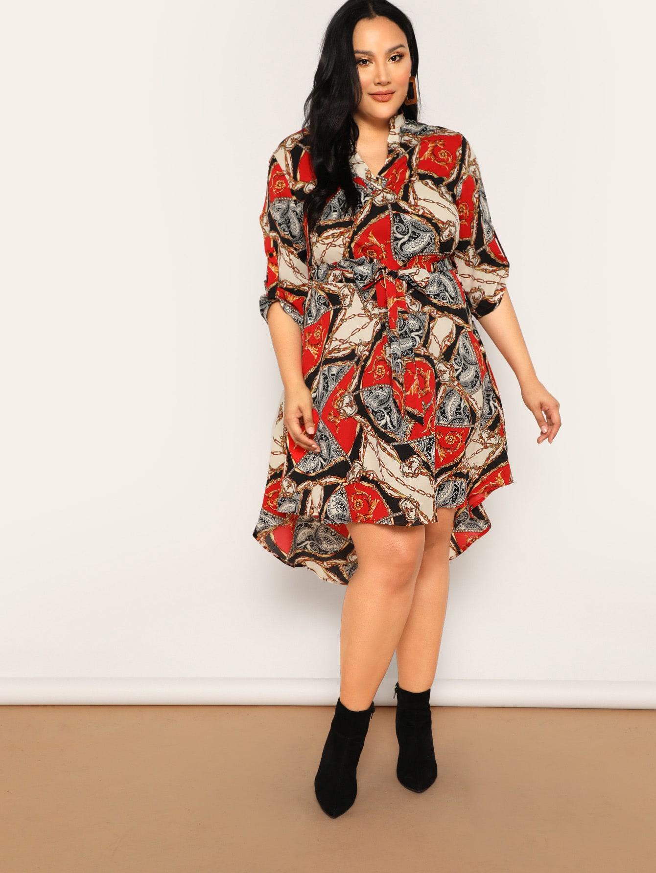Размер плюс асимметричное платье с модным принтом и поясом