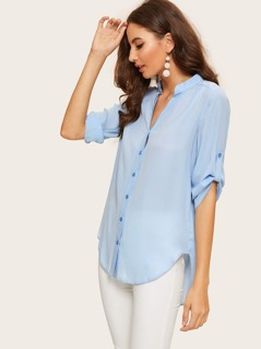 Button Up Rolled Tab Sleeve Solid Shirt