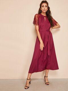 Lace Raglan Sleeve Keyhole Belted Dress
