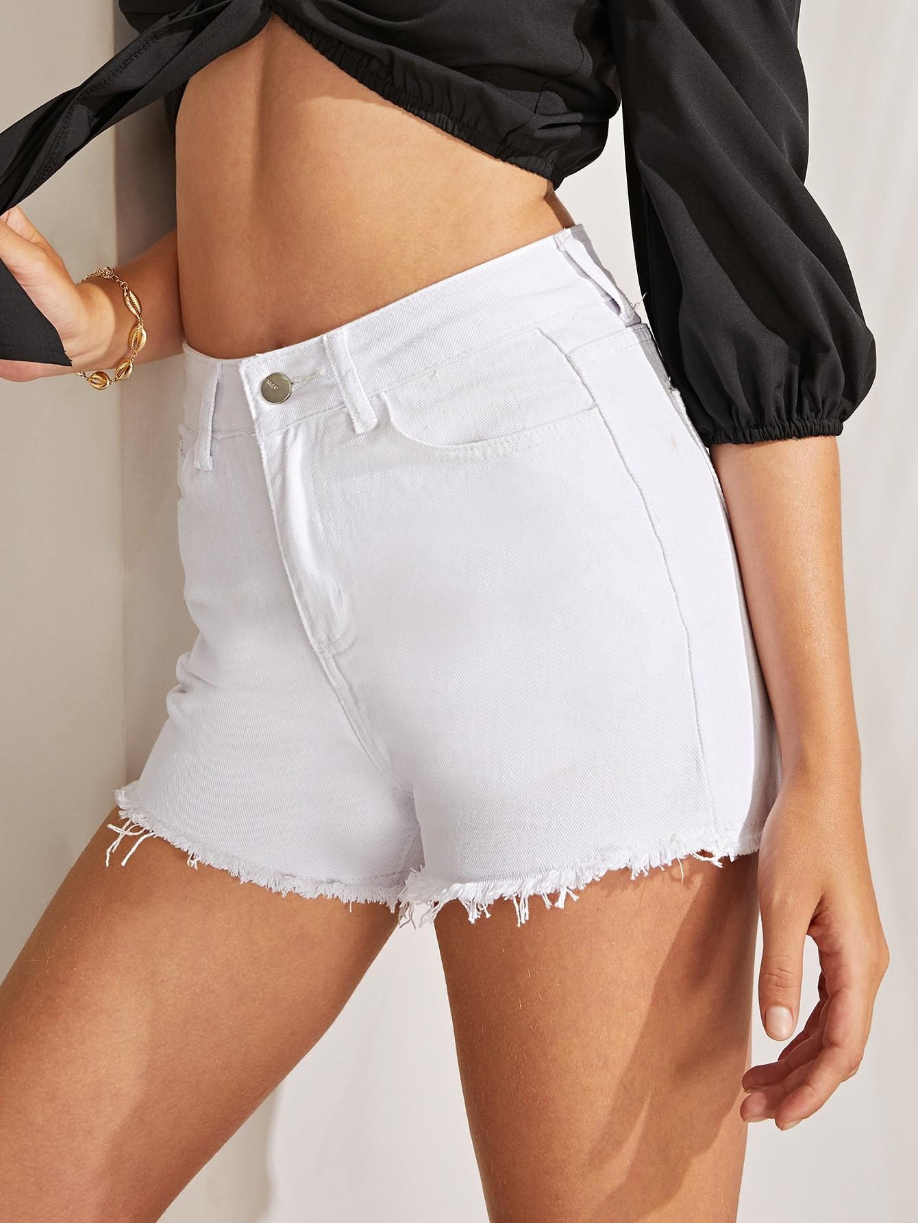 Купить Однотонные джинсовые шорты с необработанным низом, Luiza, SheIn