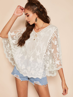 V Neck Embroidered Mesh Cape Top