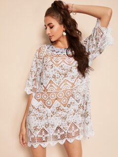 Scalloped Hem Lace Insert Ditsy Floral Cover Up