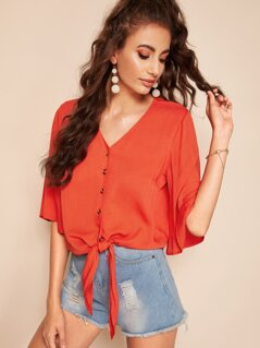 Bell Sleeve Button Up Knotted Shirt