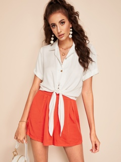 Rolled Sleeve Buttoned Knot Blouse