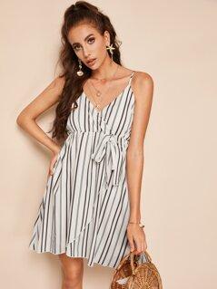 Surplice Neck Wrap Knotted Striped Slip Dress