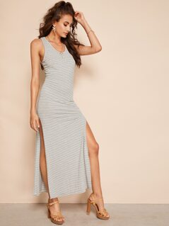 Slit Side Racer Back Striped Dress