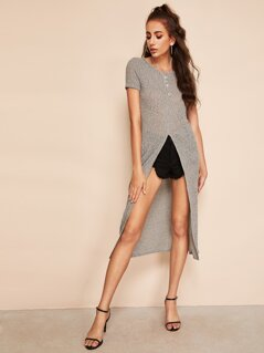 Button Detail High Slit Longline Tee