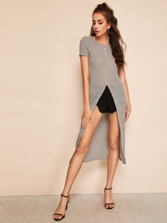 Space Dye High Slit Longline Tee