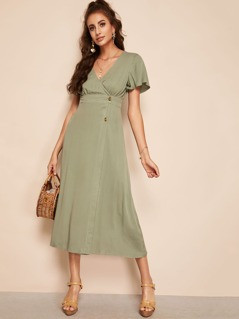 Flutter Sleeve Surplice Wrap Button Detail Dress