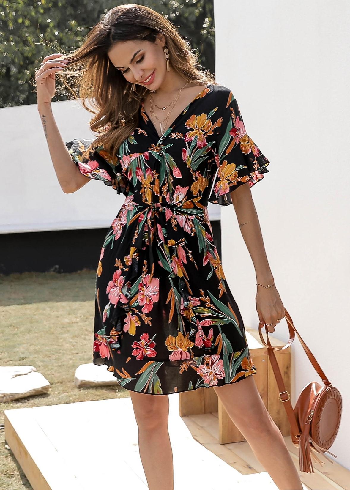 Купить Платье с поясом оборкой на рукавах и цветочным принтом, Andy, SheIn