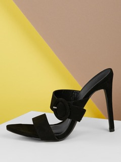 Pointed Sole Side Buckle Accent Stiletto Heels