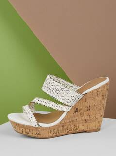 Perforated Strappy Cork Platform Wedges