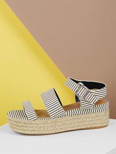 Open Toe Striped Double Band Jute Flatform Sandals