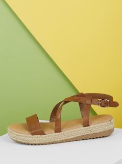 Open Toe Criss Cross Detail Jute Flatform Sandals
