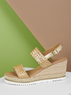 Braided Double Strap Slingback Woven Jute Wedges