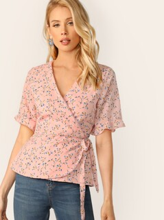 Ditsy Floral Tie Side Wrap Blouse