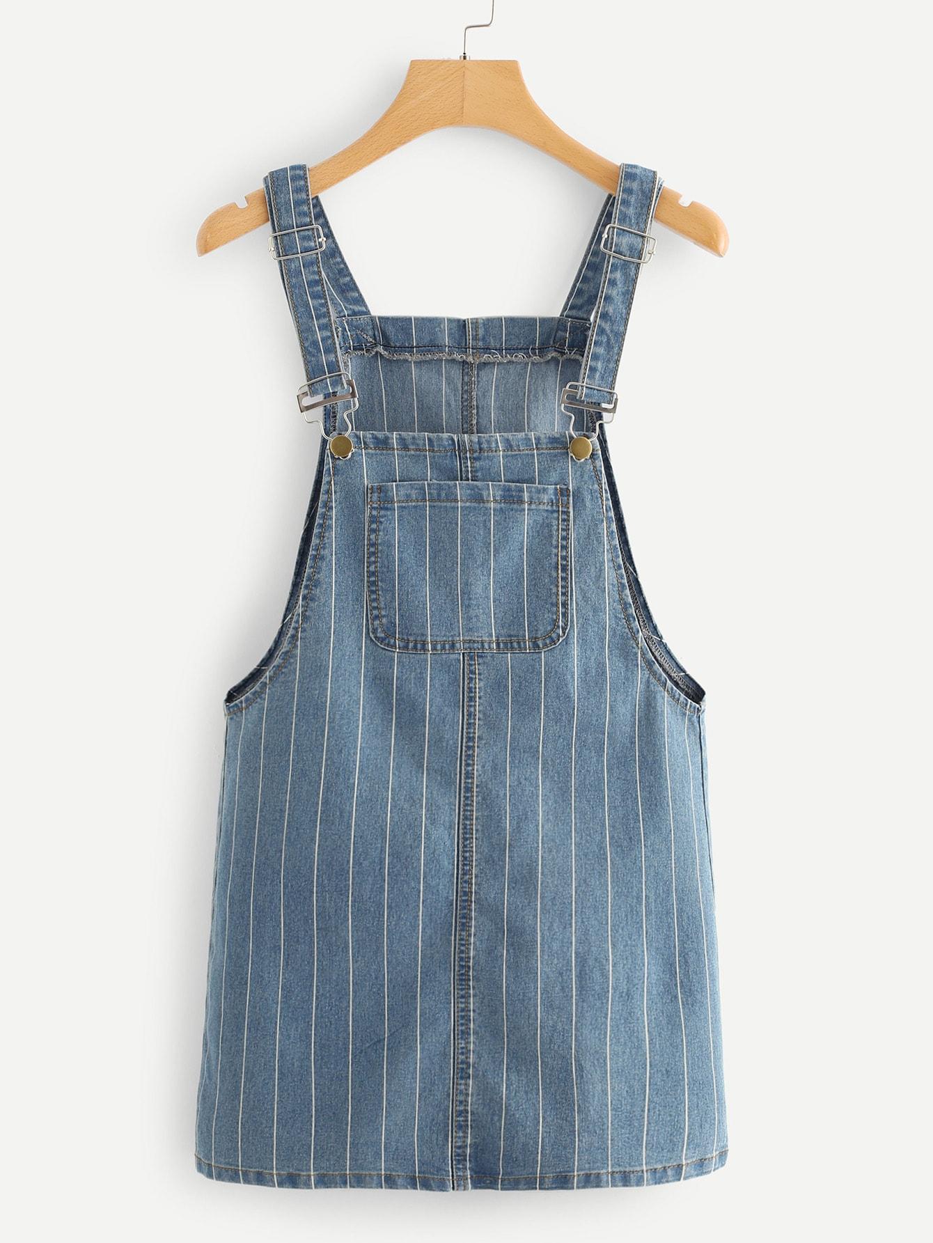 Полосатое джжинсовое платье-сарафан с карманом SheIn