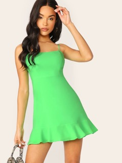 Ruffle Hem Back Zip Mini Slip Dress