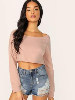 Raw Edge Scoop Neck Cropped Sweatshirt