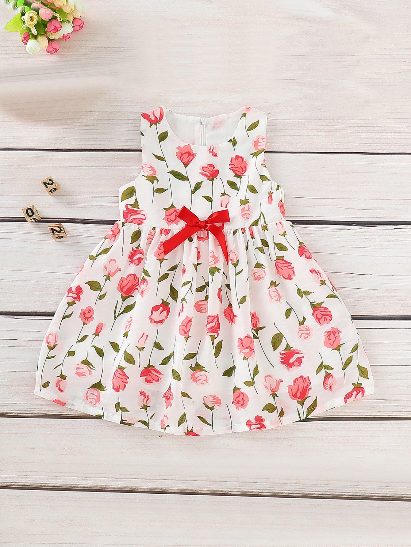 Купить Цветочное платье с бантом для маленьких девочек, null, SheIn