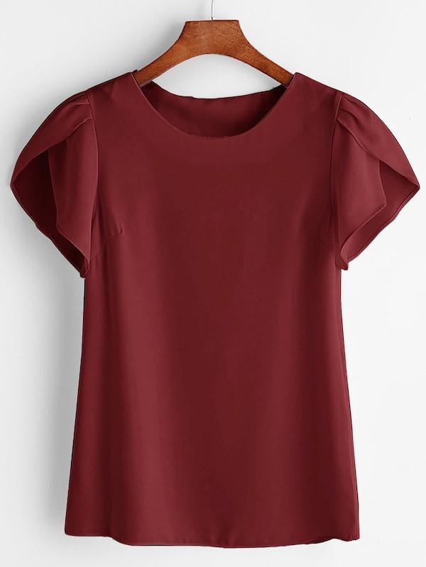 Купить Размера плюс однотонная блуза с оригинальным рукавом, null, SheIn