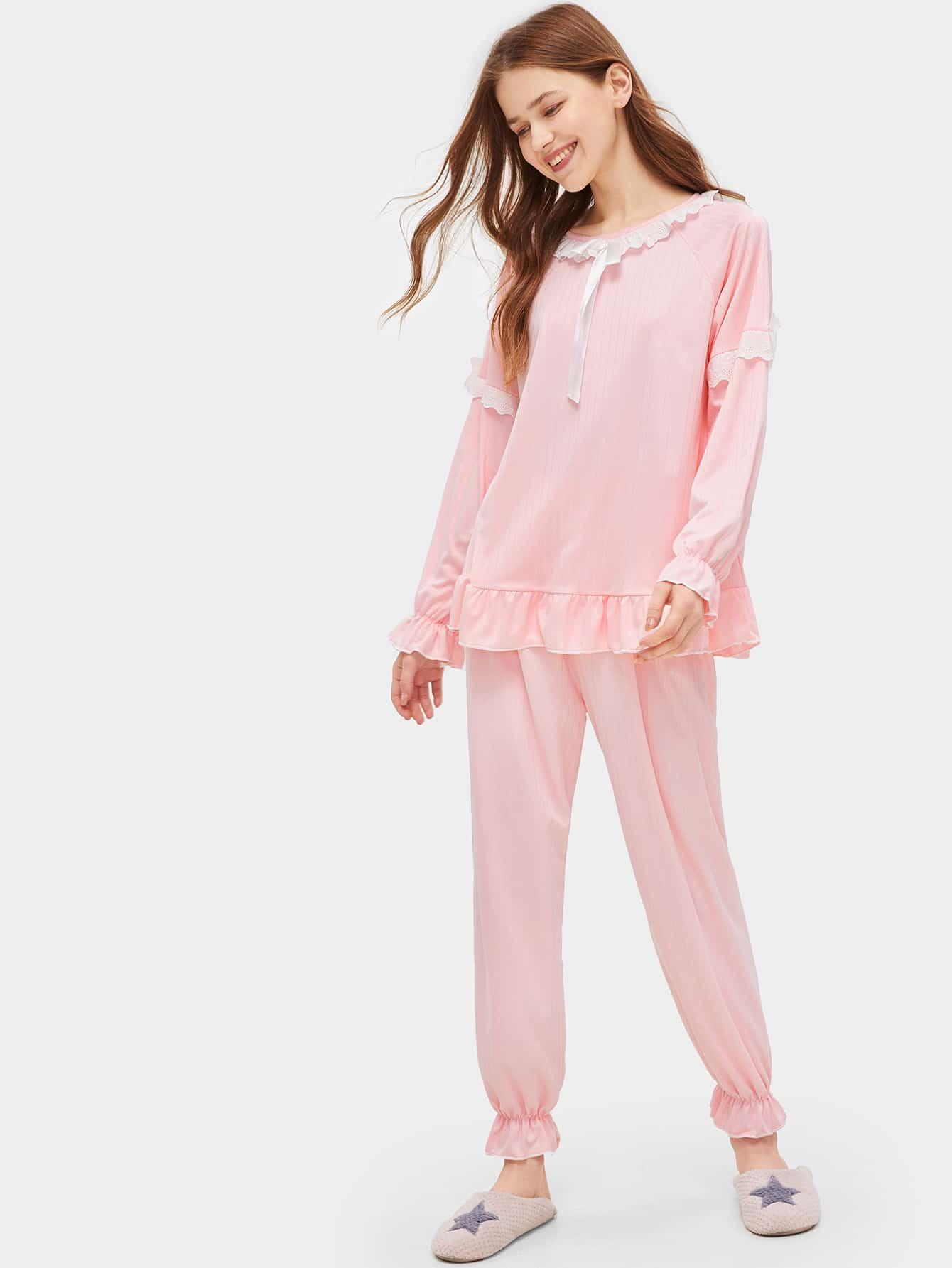 Купить Пижама комплект с оборкой и узелом, Nastya, SheIn