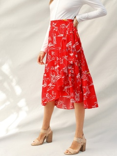Tie Side Flounce Hem Wrap Asymmetrical Skirt