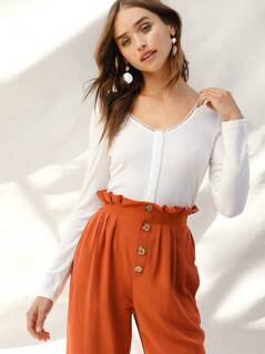 Button Front Lace Trim Ribbed Top