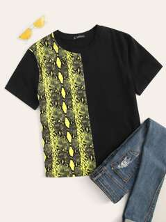 Snakeskin Spliced Tee