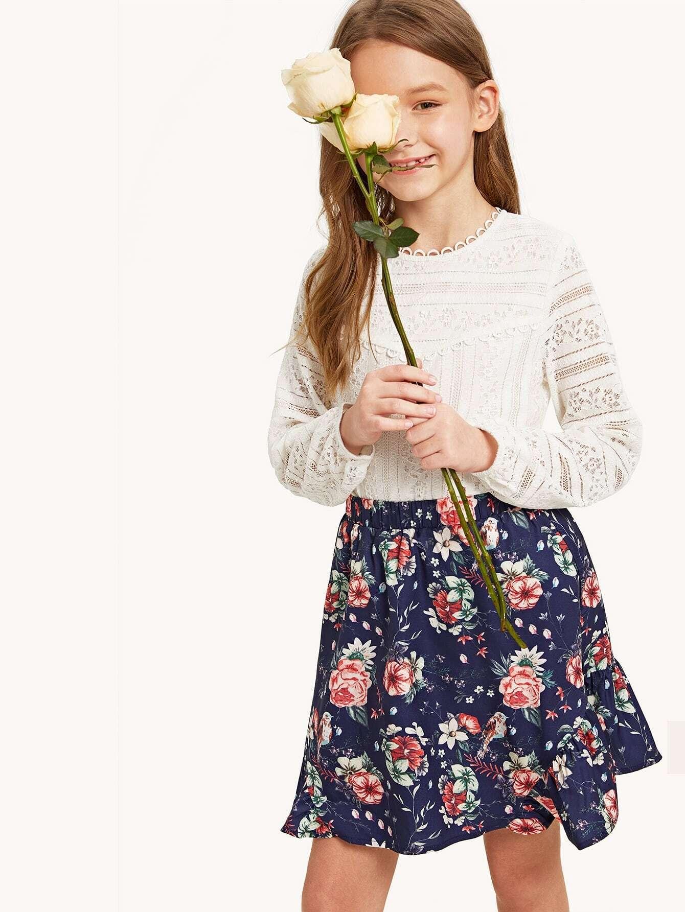 Купить Кружевной топ и цветочная юбка с многослойными оборками, Anna C, SheIn