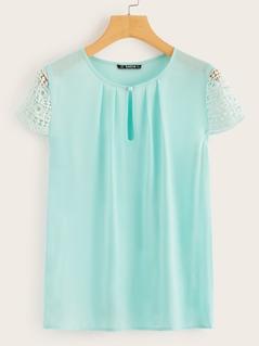 Keyhole Neck Guipure Lace Sleeve Blouse