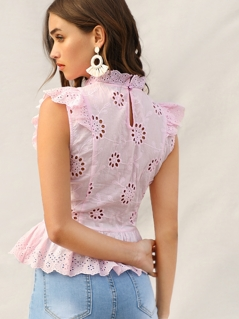 Ruffle Trim Eyelet Embroidered Peplum Top