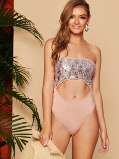 Sequin Detail Cut Out Waist Knot Back Tube Bodysuit