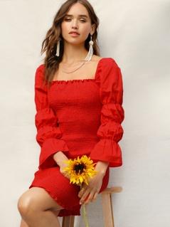 Square Neck Elasticized Sleeve Smocked Dress
