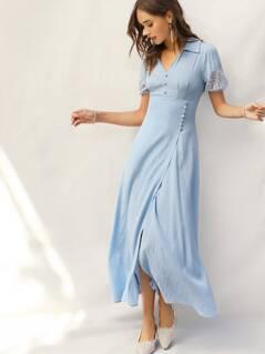 Button Front Lace Sleeve Wrap Split Dress