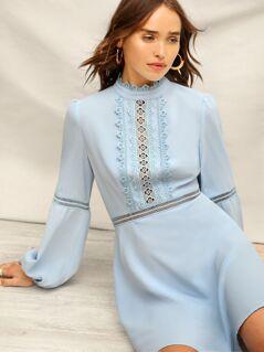 Mock Neck Guipure Lace Detail Lantern Sleeve Dress