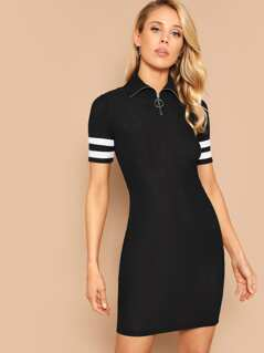 O-ring Zip Half Placket Striped Cuff Dress