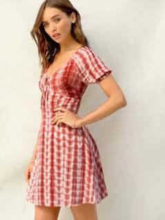 Tie Neck Frill Cuff Tie Dye Dress