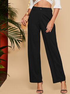 Solid Wide Leg Tailored Pants