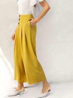 Zip Back Buttoned Front Pleated Wide Leg Pants