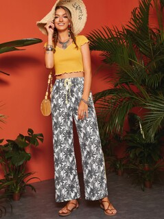 Drawstring Waist Tropical Print Pants