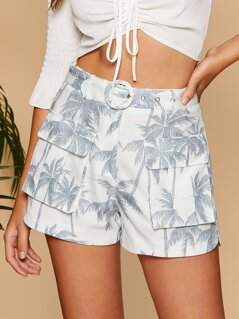 O-ring Belted Pocket Patched Tropical Shorts
