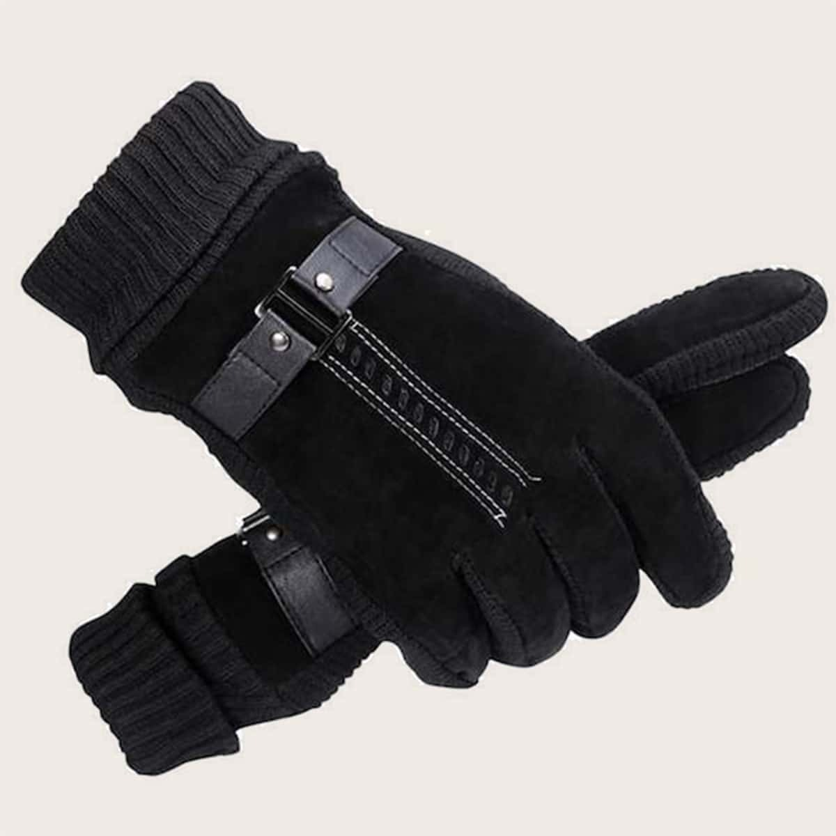 Mannen Gebreide Handschoenen met Contrasterende Details 1paar