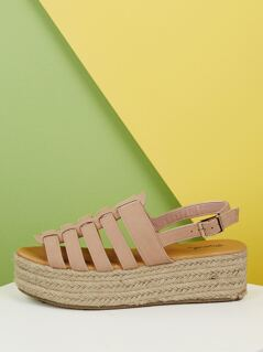 Open Toe Strappy Jute Wrapped Flatform Sandals