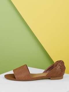 Open Toe Basket Weave Detail Open Sides Flats