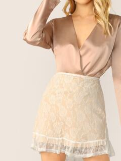 Ruffle Hem A-Line Lace Mini Skirt