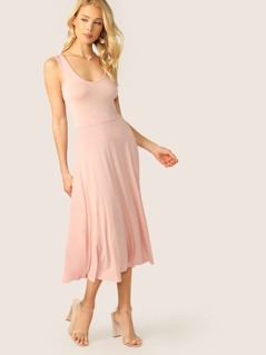 Scoop Neck Jersey Fit And Flare Midi Tank Dress