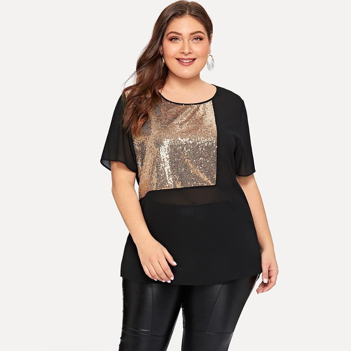 Zwart Feest Grote maten blouses Contrast pailletten